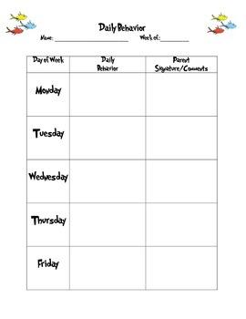 Daily Behavior Sheet (Dr. Suess)