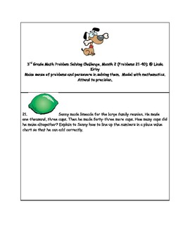 Math-3rd Grade-Month 02: Challenge Problem Solving (Questi