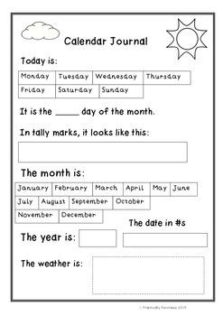 Daily Calendar Journal Sheet