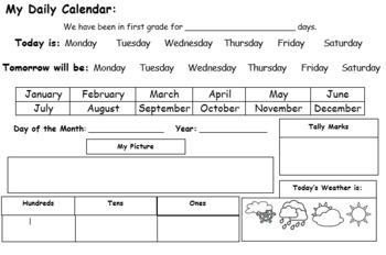 Daily Calendar Morning Work