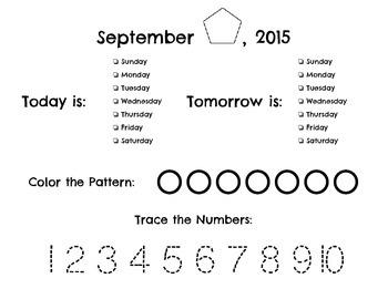 Daily Calendar Sheet