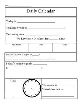 Daily Calendar and Math Warm-Up