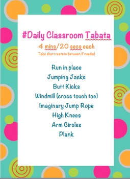 Daily Classroom Tabata Exercise Brain Break