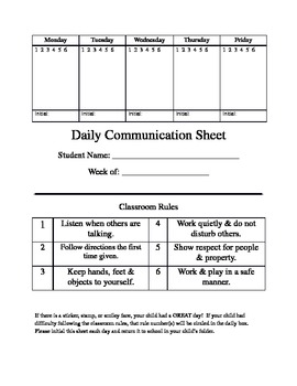 Daily Communication/Reflection sheet