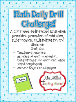 Daily Drill Math Challenge! Self-Paced Program