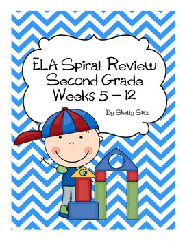 Daily ELA Spiral Review For Second Grade,  Weeks 5-12