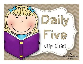Daily Five Clip Chart Chevron Burlap
