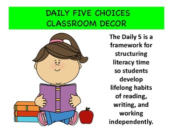 Daily Five Literacy Polka Dot Posters for your Classroom