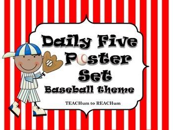 Daily Five Poster Set - Baseball Theme