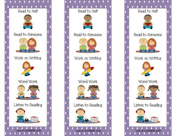 Daily Five Reading Bookmarks Purple