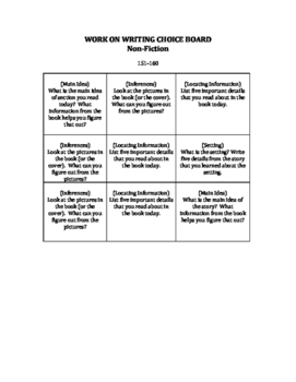 Daily Five Work On Writing Choice Board NONFICTION--NWEA M