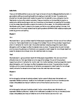 Daily Fix It Grammar, Spelling, Quote Analysis for Diverge