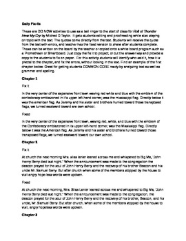 Daily Fix-It  Grammar, Spelling and Quote Analysis Roll of