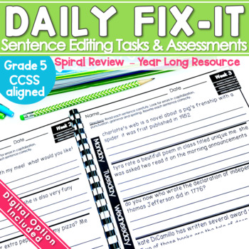 Daily Fix It (Sentence Editing) Year Long Pack - Common Co
