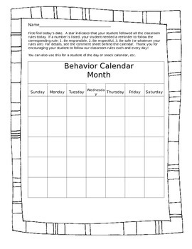 Daily Folder Behavior Calendar and Communication Page