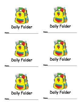 Daily Folder Labels for Classroom Organization Classroom M