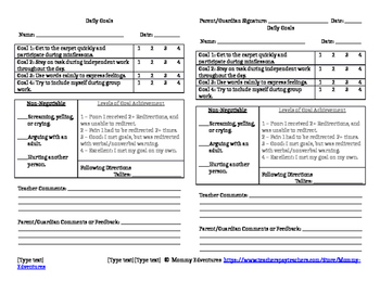Daily Goal Sheet
