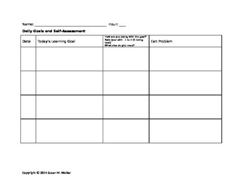 Daily Goals, Bell Work, Exit Ticket & Self Assessment Forms