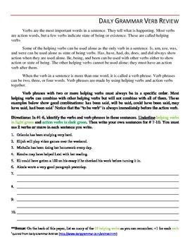 Daily Grammar Review - Verbs