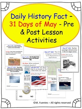 Daily History and Social Studies Facts for MAY - Pre and P