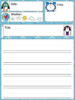 Daily Journal Template - Winter Penguin Theme