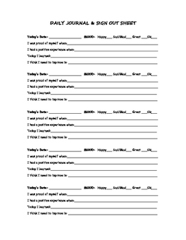 Daily Journal and Sign Out Sheet