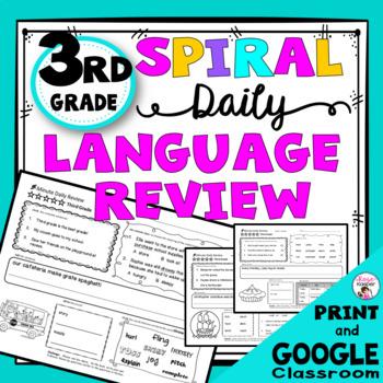 Daily Language Spiral Review Morning Work   Homework - 3rd Grade
