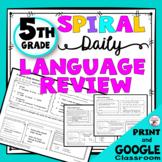 Daily Language Spiral Review Morning Work   Homework - 5th Grade