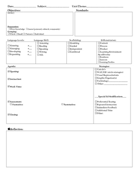 Daily Lesson Plan Template (ELL, SpEd, Differentiation, an