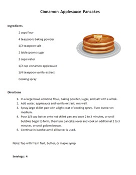 Daily Living Skills: Cinnamon Applesauce Pancake Recipe an
