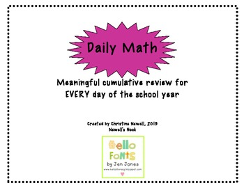 Daily Math Graphic Organizer