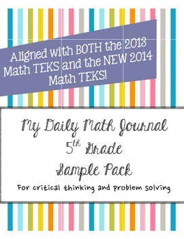 Daily Math Journal 5th Sample Pack