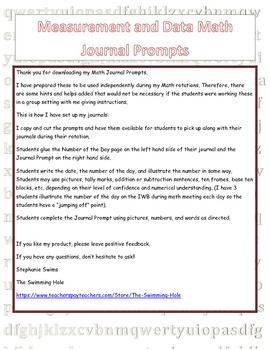 Daily Math Journal Prompts for Measurement and Data