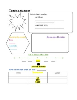 Daily Math Journal Worksheet Covers Many Common Core Standards