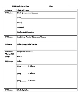 Daily Math Lesson Plan Template