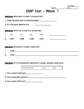 Daily Math Practice (D.M.P.) Grade 3 - Week 01 Test