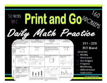 Daily Math Practice for RIT Band 211 - 220 Set C