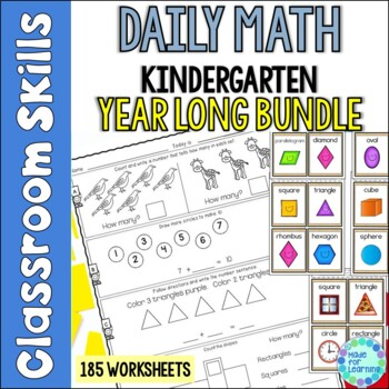 Daily Math Printables for Kindergarten YEAR BUNDLE