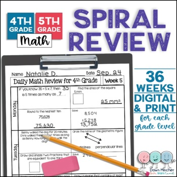 Daily Math Spiral Review - 4th & 5th Grade Bundle
