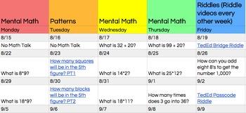 Daily Math Talk Prompts
