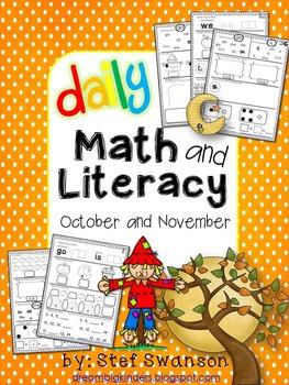 Daily Math and Literacy {October and November} Morning Work