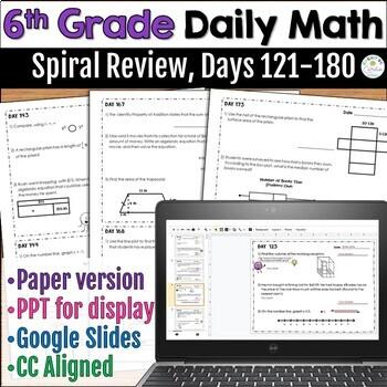 6th Grade Daily Math: Warm Ups/Homework, Days 121 - 180
