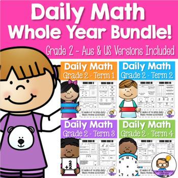 Daily Maths Review – Grade 2 Whole Year BUNDLE! (Australia