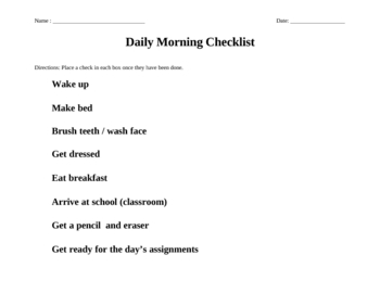 Daily Morning Checklist