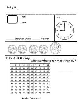 Daily Morning Math, Calendar Math