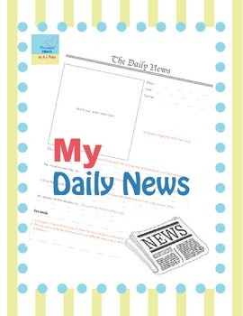 Daily News Exercise Worksheet- Teacher's edition incl.