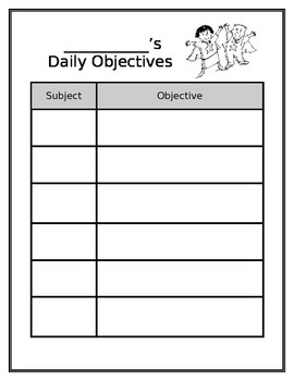 Daily Objectives Chart