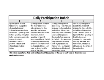 Daily Participation Rubric