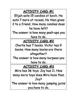 Daily Physical Activity (DPA) Math Addition and Subtraction