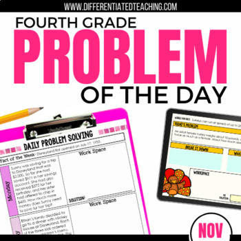 Daily Problem Solving for 4th Grade: November Word Problems